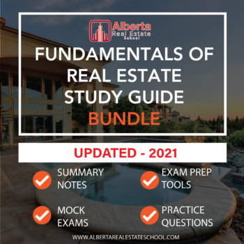 A product featuring study guide for Fundamentals of Real Estate Business in Alberta.